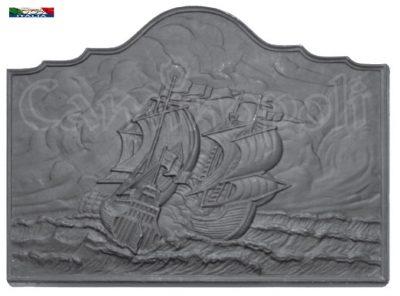 Piastra in ghisa F139 Veliero con Mare in Tempesta